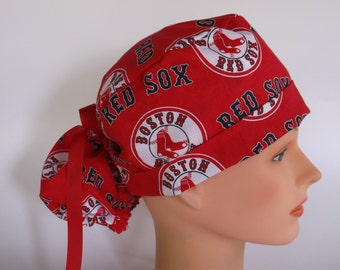 Boston Red Sox fabric Ponytail - Womens surgical scrub cap, scrub hat, Nurse surgical cap, F+2160 W