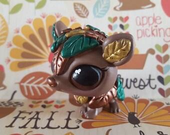 Fall Autumn Falling Leaves Armadillo OOAK Custom Littlest Pet Shop Repaint