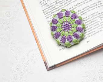 Crochet Covered Stone, Light Green Purple, Lace Stone, Paperweight, Home Decor, Beach Wedding,