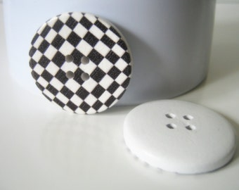 6 Large Wood Black Checker 4 Hole Buttons, 30mm, Craft Supplies, Checker Buttons, Wood Buttons Buttons   G1316