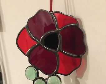 Handmade Stained Glass Poppy Suncatcher with Glass Beads