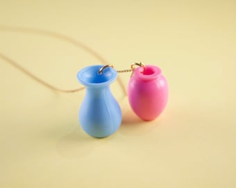 Miniature Baby Pink / Light Blue Double Vase Doll Necklace