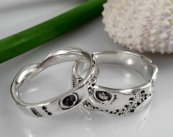 His and hers wedding rings set, silver wedding bands set, set alliances, engagement ring, nature ocean inspired wedding ring, simple bands