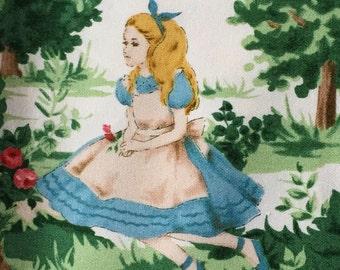 Alice in wonderland fabric black base colour Entering wonderland One yard