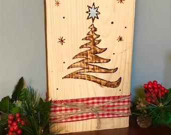 Wood Burned Christmas Tree Silhouette Decoration