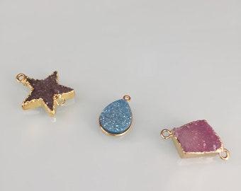 Connector spacer druzy, druzy pendant, druzy star connector, pendant