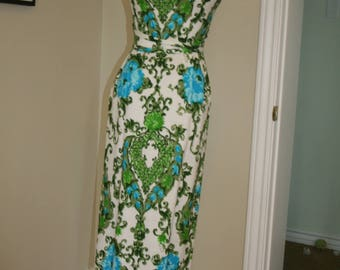1960s 60s paisley maxi dress blue green