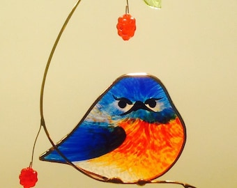 Mad Bluebird with Berries stained glass suncatcher