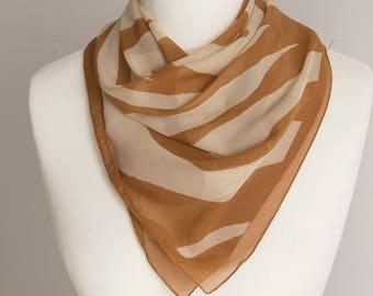 "vintage Square scarf, polyester scarf, fabric women scarf shawl 84cm / 33"" animal print scarf beige brown polka dot scarf sheer scarf"