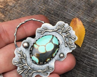 December Birthstone Necklace Pendant - Genuine Cloud Mountain Turquoise Sterling Silver Botanical Metalwork Jewlery - Sagittarius Talisman