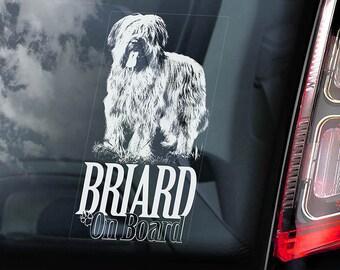 Briard on Board - Car Window Sticker - Berger de Brie Dog Sign Decal - V01