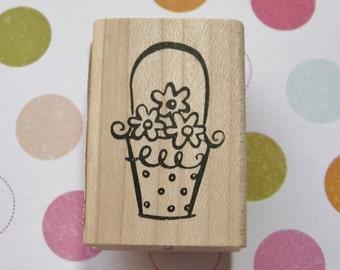 Flower Basket - Paper Salon Rubber Stamp, Easter, Spring