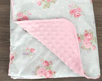 Girls Floral Baby Blanket. Shabby Chic Baby Blanket. Receiving Blanket. Lovey. Baby Girls. Carseat Canopy. Baby Shower Gift. BizyBelle