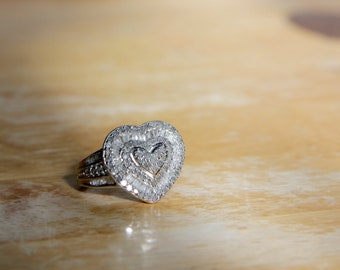 Diamond and Sterling Silver Ring - Size 6.5 and 7