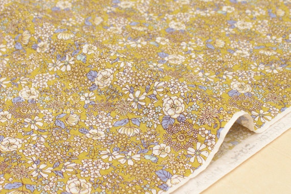 Japanese Fabric Cotton Seersucker Floral   Mustard   50cm by Etsy