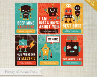 Robot Valentine's Day Cards . Class Valentines . Kids Valentines Cards . Printable Valentines . Instant Download