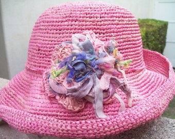 Cotton Candy Pretty  Pink Crocheted Straw Sun Hat