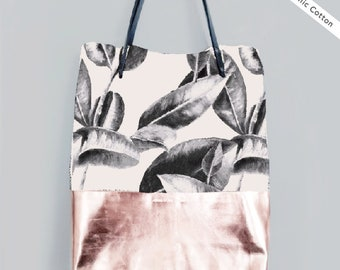 Shopper - BAJA LEAVES - organic cotton - metallic leather