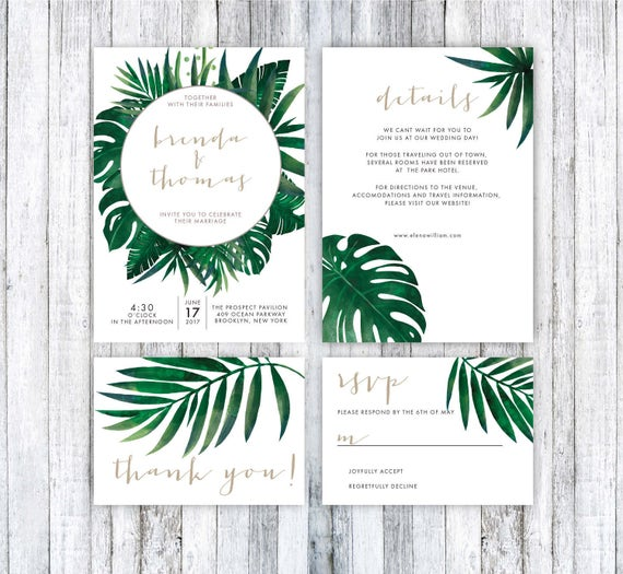 Wedding Invitation Template Tropical Wedding Invitation