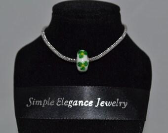 European Murano Glass Bead White with Green Flower