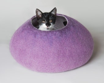 Cat Nap Cocoon / Cat Cave / Cat Bed / Cat House Vessel - Hand Felt Wool - Crisp Contemporary Modern Design - READY TO SHIP Warm Ultra Violet