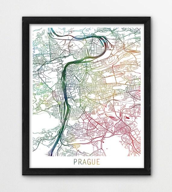 Prague City Urban Map Poster Prague Street Print Prague