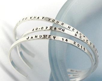 Personalized Bracelet Sterling Silver Custom Bracelet Name Bracelet Cuff Bracelet Mother's Bracelet Mom Mommy Gifts For Mom Gift For Mother
