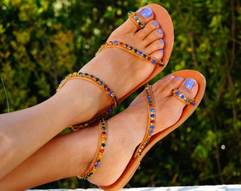 SALE 40%!!!  Genuine leather sandals decorated with multicoloured Swarovski crystals