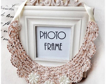 Vintage clothing  Pearl Beaded Lace Collar Necklace  #3