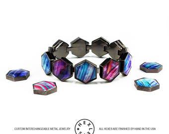 Space Rocks Bracelet - Black or Silver - Interchangeable Artwork