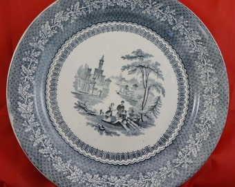 BLUE Tansferware Plate Maker and Pattern unknown from mid 1800'
