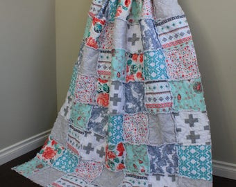 Throw Quilt, Large Throw, Rag Quilt, Couch Blanket, Art Gallery Fabric, Flowers, Spring Decor, Recollection, Mint Grey, Ready To Ship