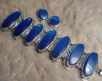 1950's Impressive Bracelet and Earrings Set with Blue Thermoset Stones