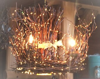 Twig chandelier etsy mozeypictures Images