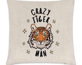 Crazy Tiger Man Stars Linen Cushion Cover