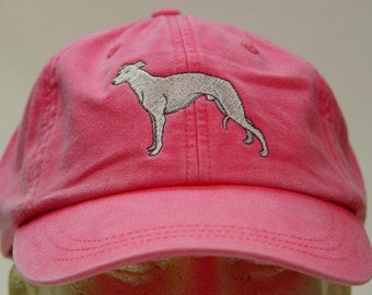 WHIPPET DOG Hat - One Embroidered Men Women Cap - Price Embroidery Apparel - 24 Color Caps Available