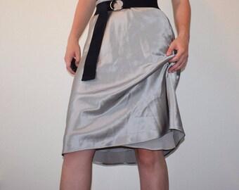 Liquid Silver Silk Skirt