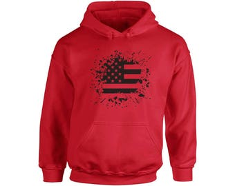 USA Flag Black and White Hoodie  USA Hooded Sweatshirts Fourth of July American Flag  4th of July