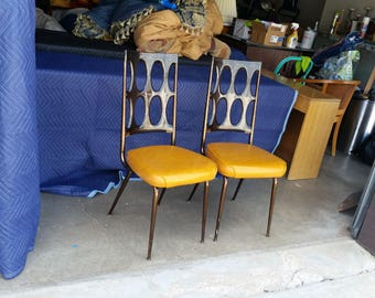 Vintage 1960's Chromcraft Dinette Chairs Smoked Lucite Backrest Mid Century Modern Space Age