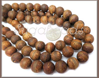 18 DZI Banded Tibetan Agate Gemstone Beads - Earthy Brown Agate Prayer Beads 10mm, SBGB4