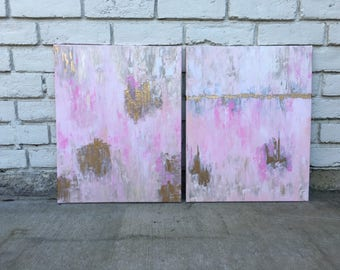 Overflow *SOLD* (2) 16x20 paintings // acrylic // canvas painting // pink and gold // abstract art // gold foil // gold leaf