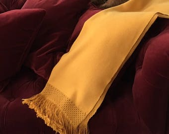 Ochre yellow baby alpaca shawl