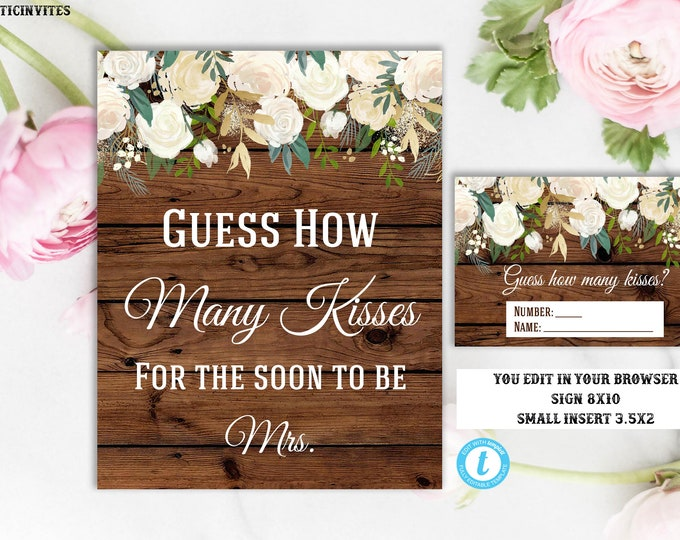 Rustic Guess How Many Kisses Sign Game Template Instant Download Printable Editable Bridal Shower Sign Vintage Country, Guess Kisses Sign