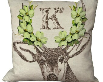 Shabby and Chic Deer with Green Dogwood Blossoms Rustic Monogram in Choice of 14x14 16x16 18x18 20x20 22x22 24x24 26x26 inch Pillow Cover