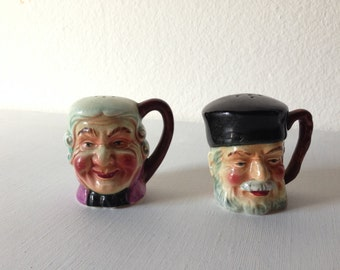 British and Russian Toby Head Salt and Pepper Shakers