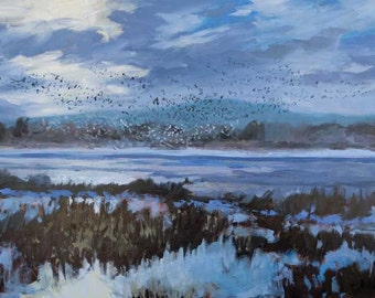 Bosque Morning Rising - Bosque del Apache - New Mexico - Original Oil Landscape Painting