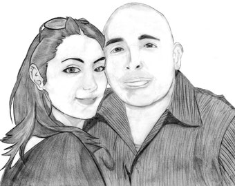 Custom Black and White Couples Portrait