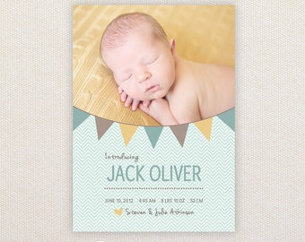 Boys Photo Birth Announcement. Buntings. I Customize, You Print.