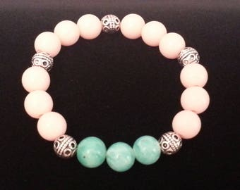Green Stone and Peach Beads Silver Stretch Bracelet