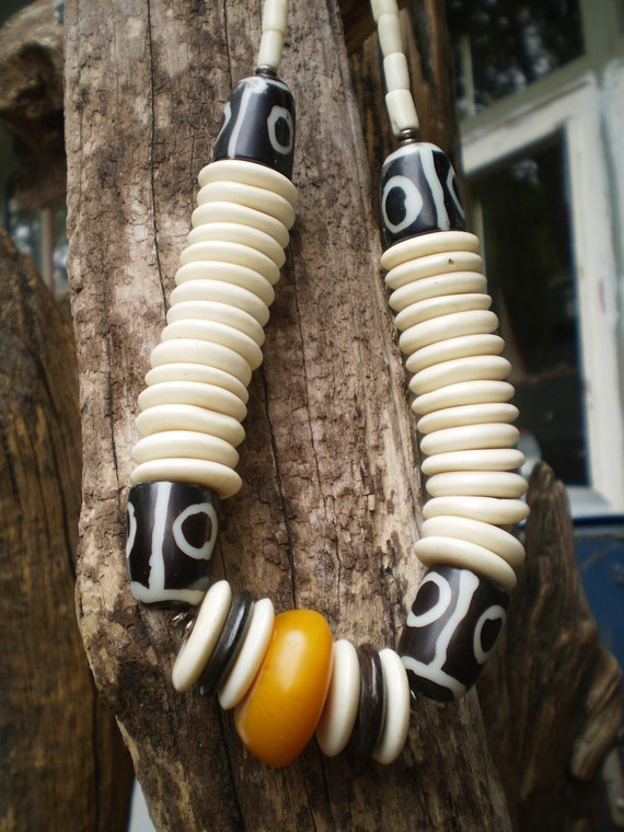 Handcrafted Buffalo Bone Agate And Amber Necklace From Northern Namibia